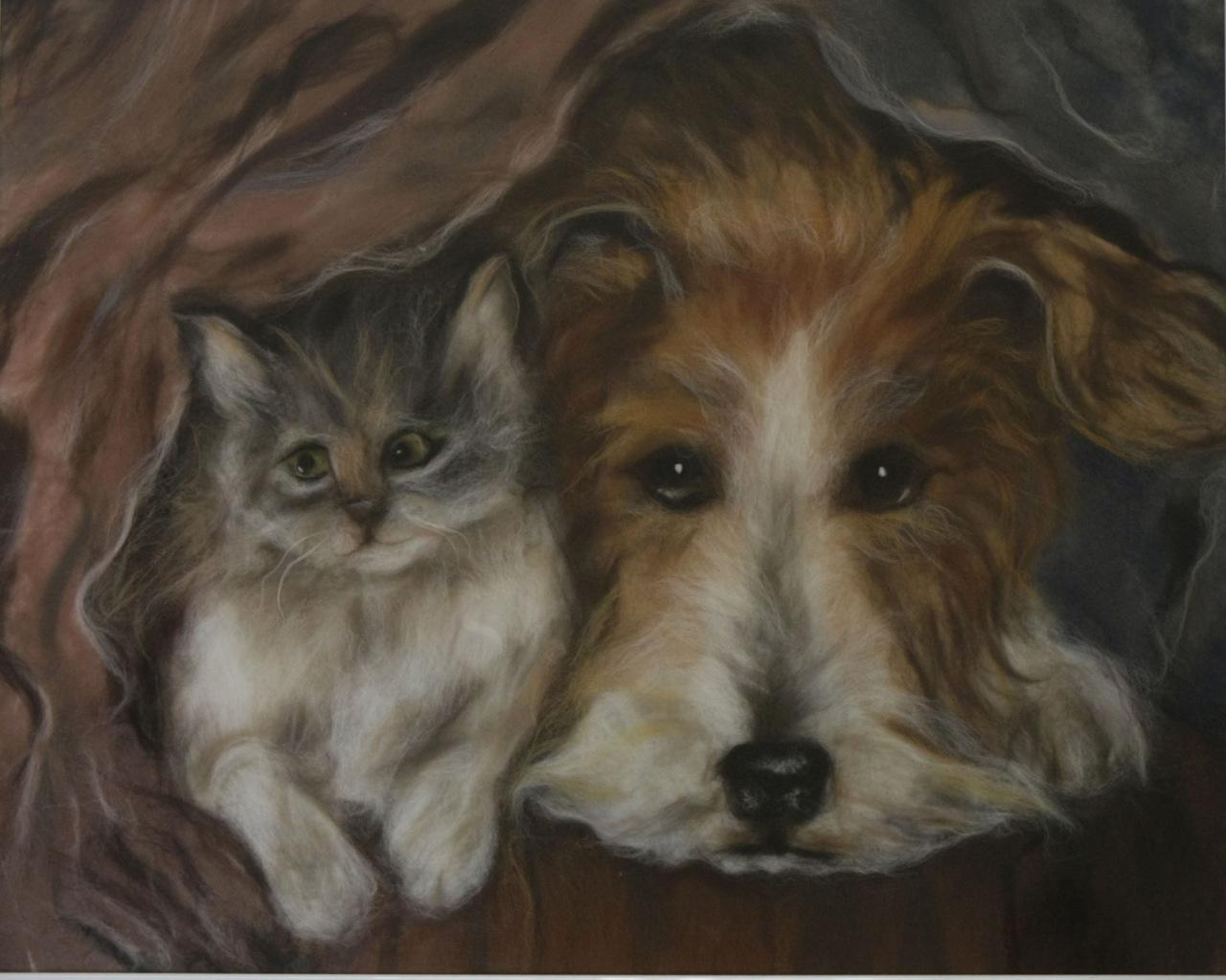 кошка и собака. живопись шерстью. шерстяная картина