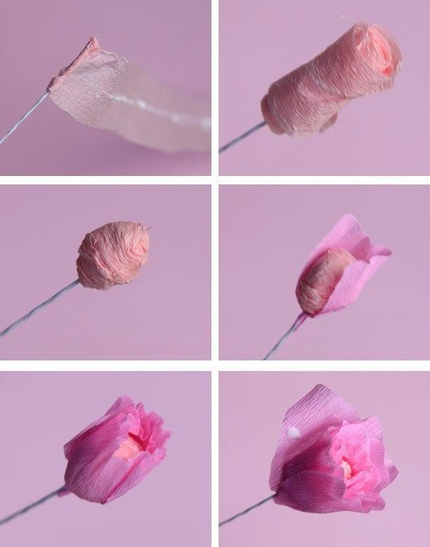 Цветок из бумаги из гофрированной бумаги с конфетами