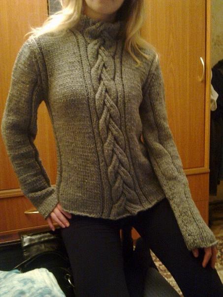 Вязание на спицах свитера с горлом