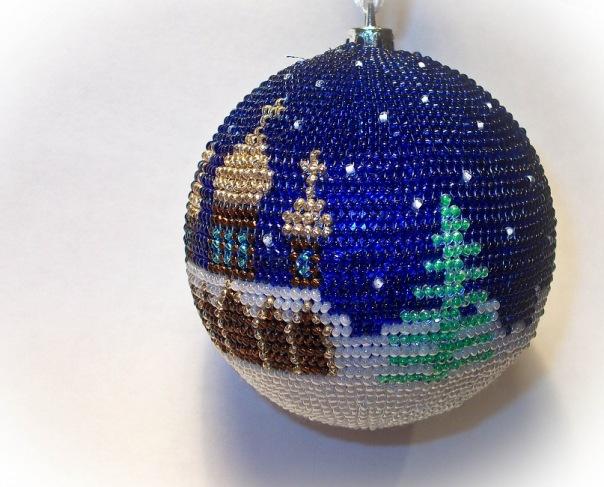 Елочный шар из бисера  мастер класс