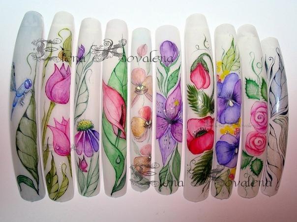 Акварельная роспись по ногтям