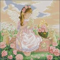 Категория.  25.11.2011. Вышивка крестиком - Заботливый ангелок.  Просмотров: 217 Дата.  Ангелы.