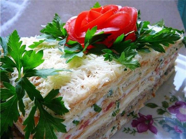 Торт из коржей с курицей и грибами