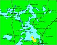 Карта-схема южной части озера Селигер.  Крестом отмечен остров Столбный, на котором находится монастырь Нилова...