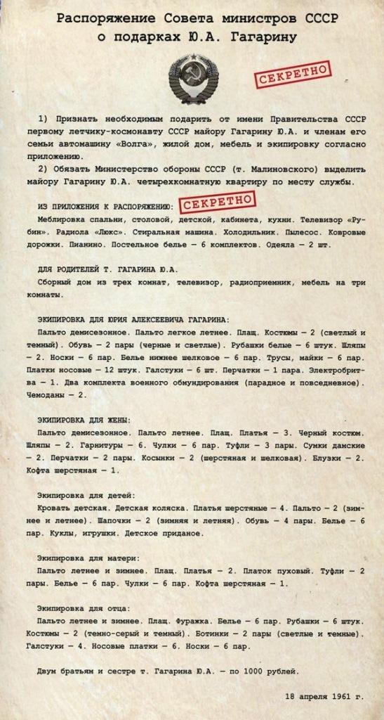Распоряжение Совета министров СССР о подарках Ю.А. Гагарину