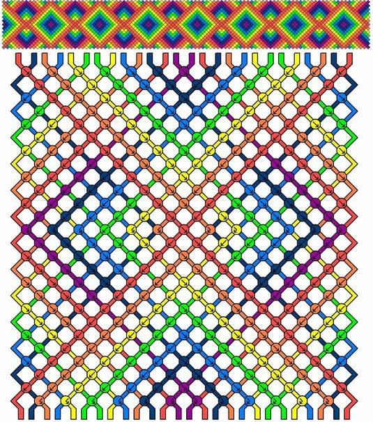 Схемы фенечек косого плетения