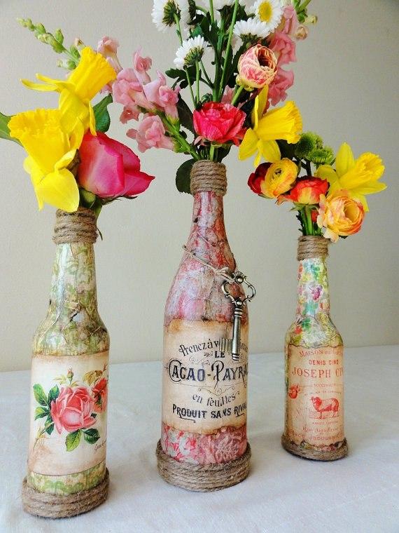 Сделать вазу из стеклянной бутылки своими руками