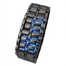 Lava Style Iron Samurai All Metal Blue LED Faceless Watch Black.
