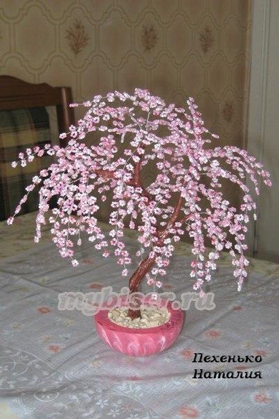 Мастер-класс по бисероплетению Бонсай Сакура - Мастера.  Плетение цветов бисером для начинающих - Резьба по дереву.