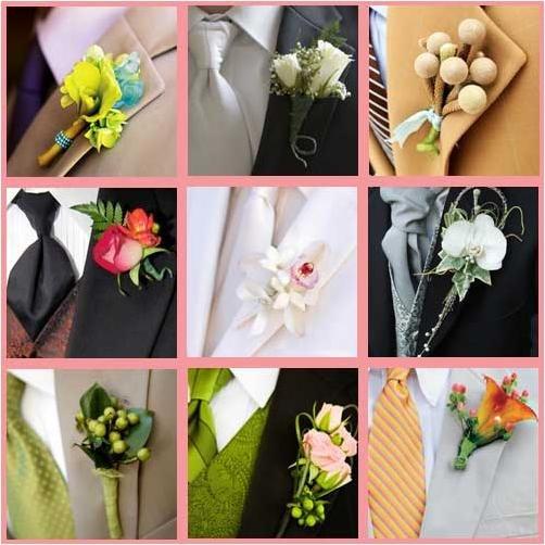 Разнообразие бутоньерок.  Свадебные аксессуары для невесты и жениха.