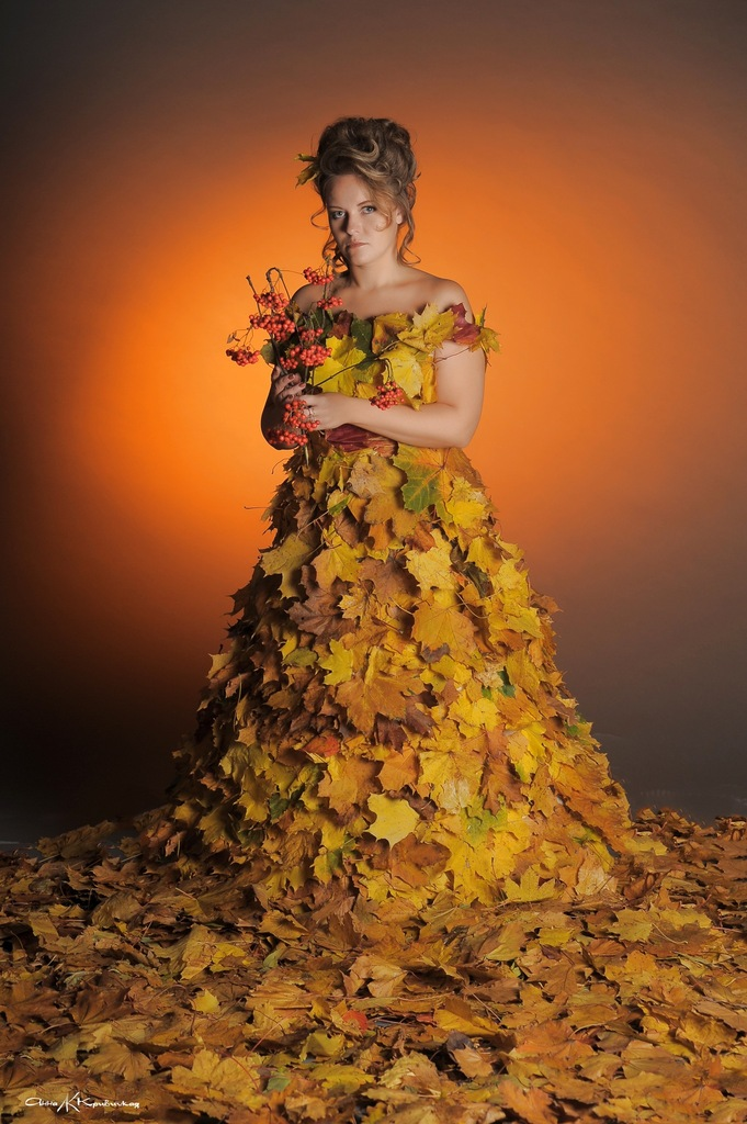 Осенние наряды своими руками из листьев фото