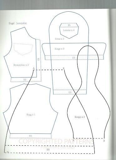 Выкройка джинсовой куртки для тильды