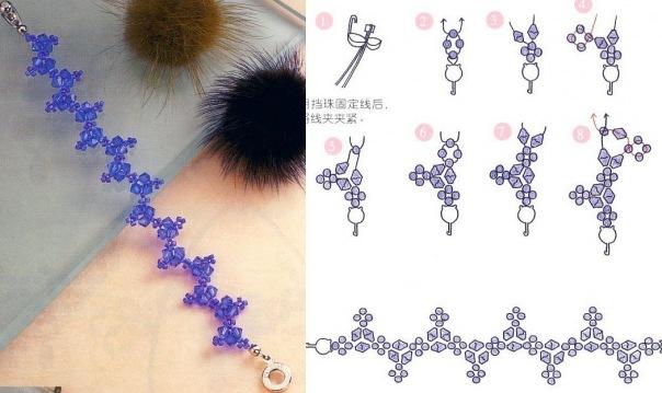Очень симпатичные схемки браслетов из китайского журнала по бисероплетению.  Самое главное, что плести браслеты очень...