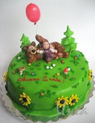 Торт Маша и медведь! ванильный шифоновый бисквит, сливочно-творожный.