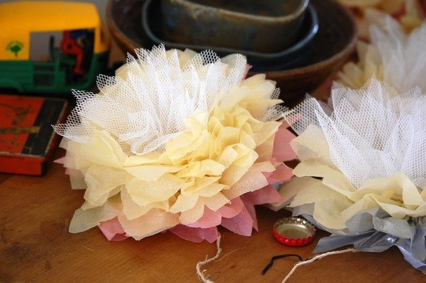 Цветок из тюли своими руками мастер класс