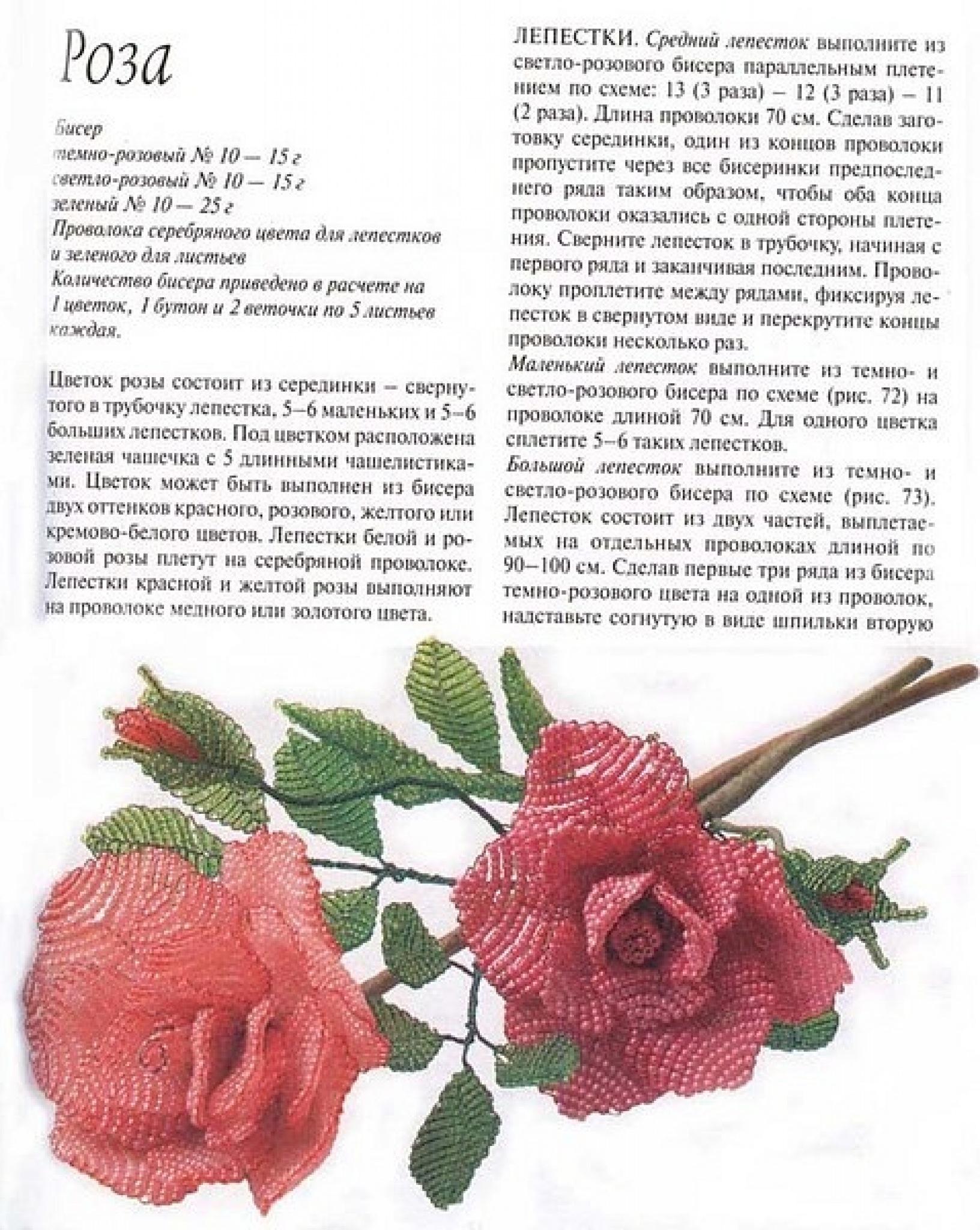 Сделать своими руками розу из бисера