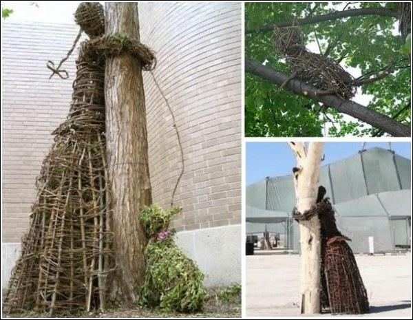 Погладил кота? Обними дерево! Парковая скульптура из прутьев Агнешки Градзик и Виктора Шостало