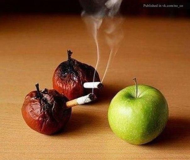 Соціальна реклама проти паління з яблуками