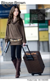 DD-130220 Блузка-коричневый - Женская одежда дешево из Китая оптом и в...