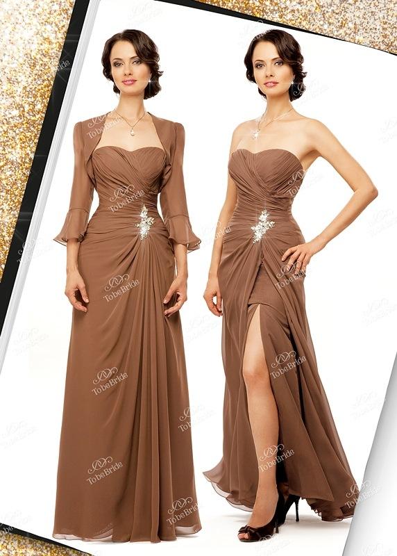 Кофейное вечернее платье с роскошными стразами.