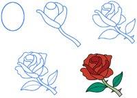 Рисунки карандашом.  Схемы рисунков.  В: Как нарисовать розу.