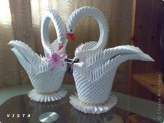 Оригами модульное: Лебеди Бумага Свадьба.