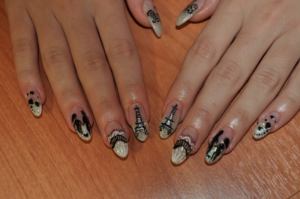 Нарощенные ногти радуга картинки.  Образец 2320.