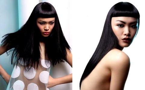 рваная короткая челка с длинными волосами фото