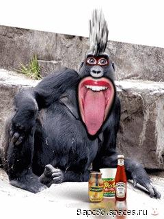 Пей пиво-будешь как горилла.gif.  Очень веселая картинка.