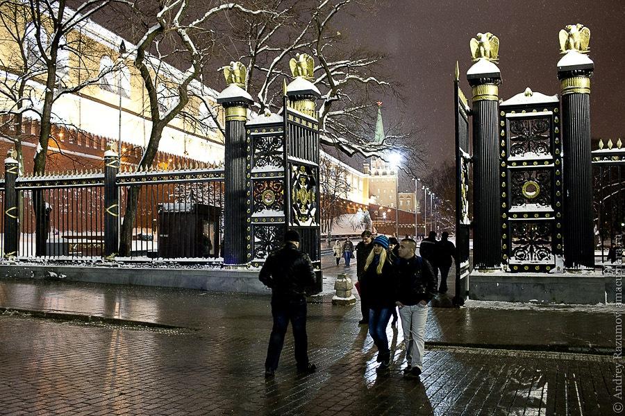 Москва Кремль снег зима