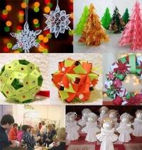 Оригами - моделирование из бумаги - елочные украшения, гирлянды, снежинки и сувениры.