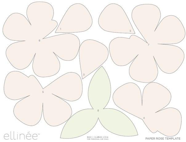 Большие розы из бумаги своими руками шаблоны 936