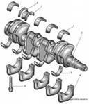 Коленчатый вал мотора: 1 - верхний вкладыш коренного подшипника; 2 - коленчатый вал; 3 -нижний вкладыш коренного...