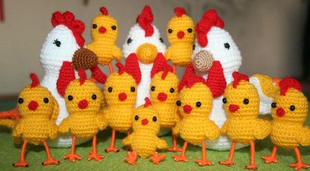 Вязание крючком курочка цыплята