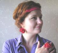 Ярмарка Мастеров - ручная работа Комплект Роза красная.  Handmade.