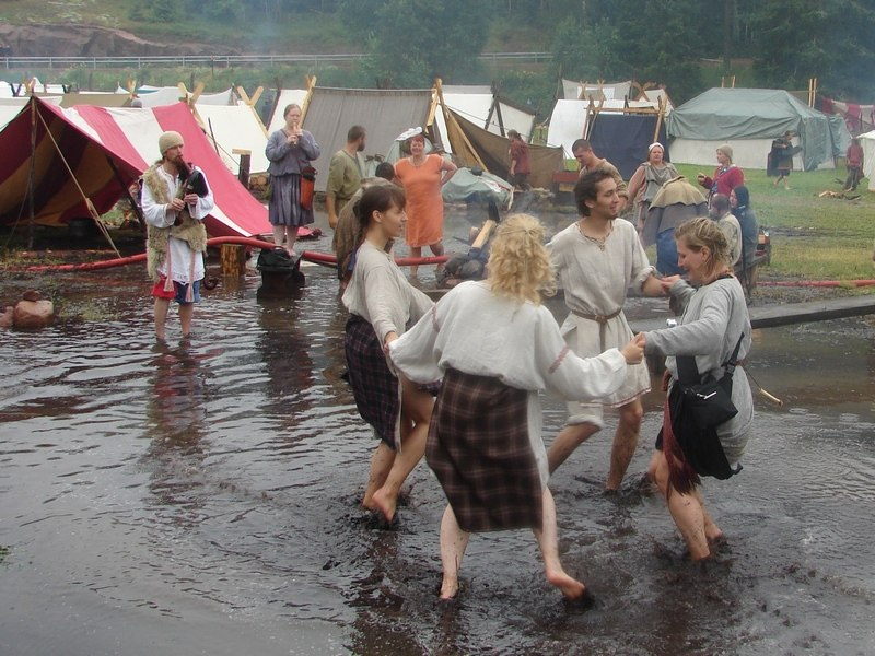 Our EVS Volunteers at the Viking Market in Saltvik, Aland, Finland in 2009. This year it as a great flood and all the Viking Market was covered with the water. We're trying to bring a bit of fun into this situation.