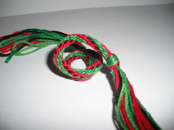 И вот еще арбузный кумихимо.  Кумихимо - это японский шнурок.