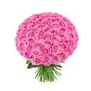 Букет Розовых Роз, 55 шт.