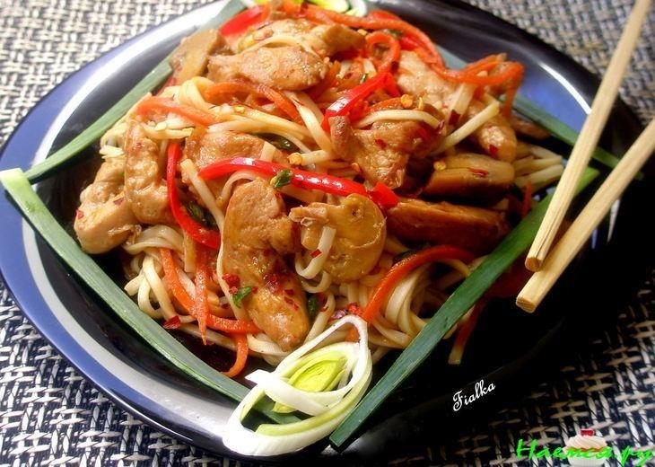 Курица с лапшой и грибами рецепт
