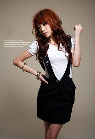 Юбки Fashionable Paillette Embellished Suspender Skirt Black.