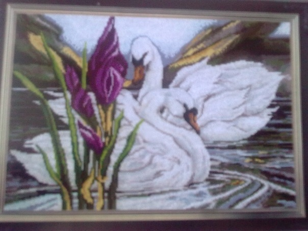 Рхемы вышивки крестом: Лебеди