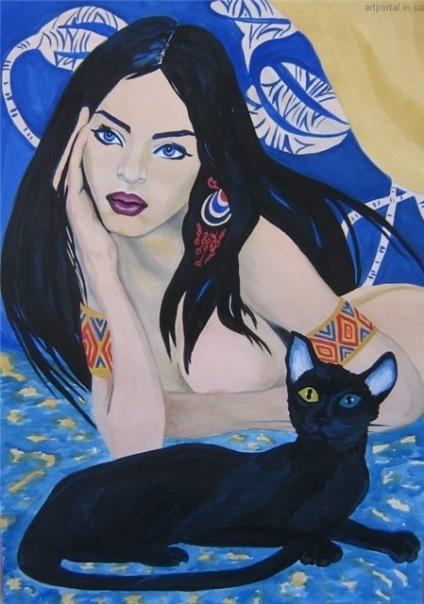 """Схема вышивки  """"Девушка и кошка """": таблица цветов."""