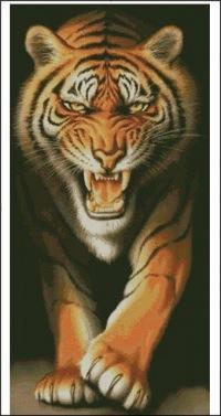 28 схем.  Тигры.  Вышивка крестом, схемы.