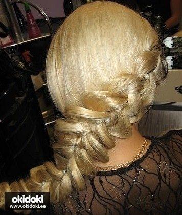 ...была коса объемная французская. или эта))романтично)))по весеннему))))