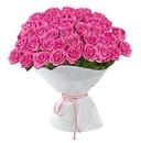 Пышный эффектный букет из 51 ярко-розовой розы Аква.