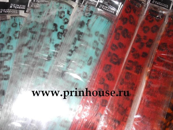 цветная прядь леопард