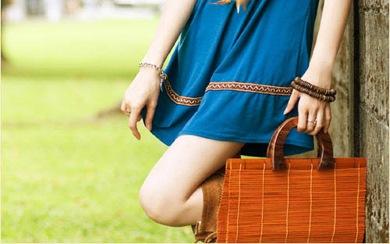 Lace Collar Short Sleeve String Dress Blue - Интернет-магазин одежды М-О.