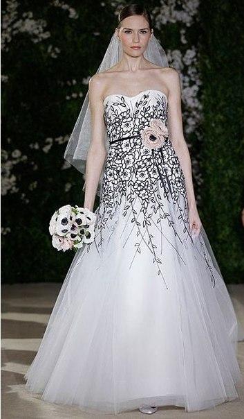 Свадебные платья 2012 с черным цветным акцентом (фото)