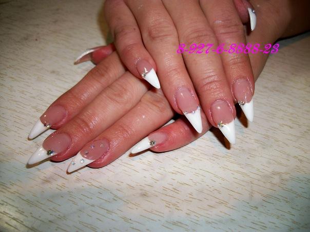 Дизайн ногтей френч на острые ногти