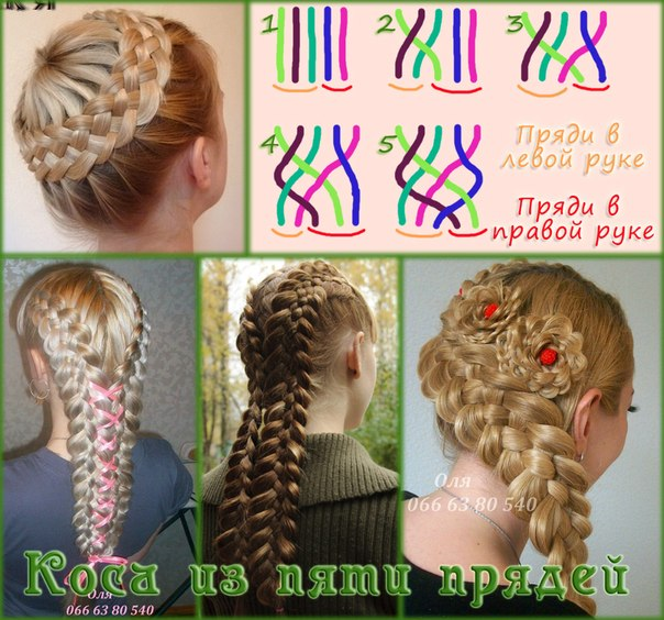 Коса из 5 прядей (вариант 1) –